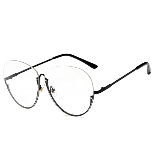 e2bc87b18b27b Amazon.com  Felice Retro Vintage Metal Half Frame Aviator Eyeglasses  Non-prescription Clear Lens Glasses  Clothing