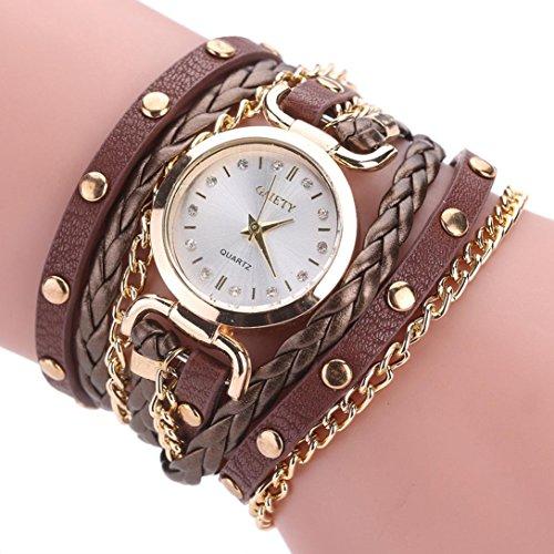 Twist Automatic Watch (Clearance! Napoo Ladies Small Twist Rivet Leather Bracelet Table Wrist Watch (C))
