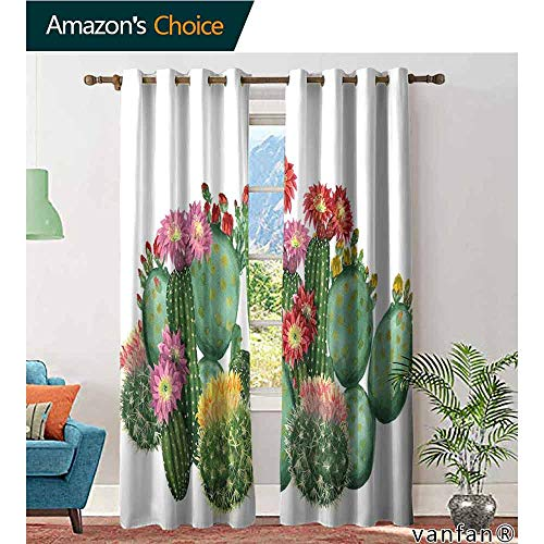 LQQBSTORAGE Cactus Decor,Curtains Valance,Saguaro Barrel Hedge Hog Prickly Pear Opuntia Tropical Botany Garden Plants, Customized Blackout Curtains,Multicolor