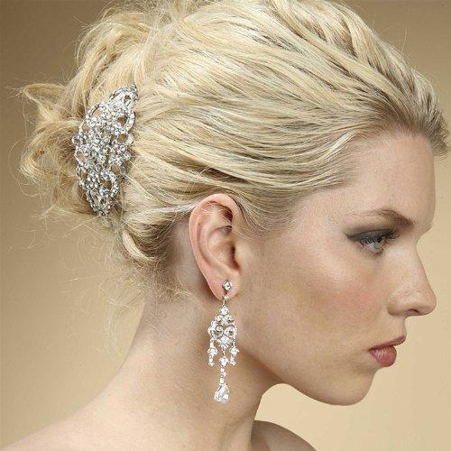 Elegant Art Deco Swarovski Crystal Wedding Bridal Barrette - Special Occasion, Prom, Party