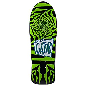 Vision Gator 2 Reissue Skateboard Deck, Black/Green, 10.25 x 29.75-Inch