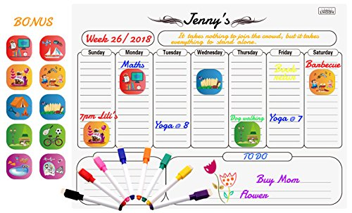 Magnetic Weekly Whiteboard Calendar Dry Erase Weekly Planner Message Board for Fridge Bonus 8 Markers and 10 illustrated Event Magnets, 16