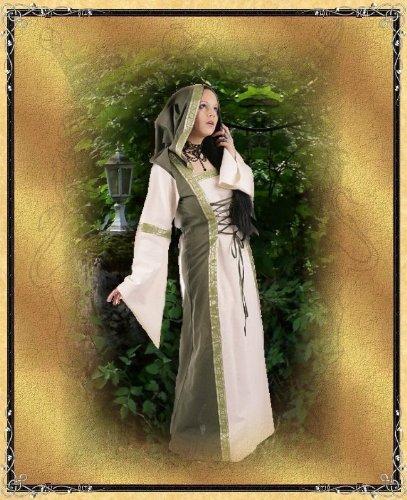 Schnürungen Kapuze mit Elfenkleid Mittelalterkleid olive und natur Bordüren wpaBXx6zq