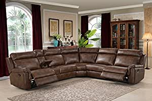 AC Pacific Clark Collection Contemporary 6-Piece Upholstered Reclining Living Room Sectional Set with 3 Recliners, a Storage Console, and 2 Cup Holders, Brown