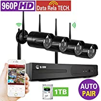 Home IP Security Camera 4CH 1080p HD Wireless Network NVR Surveillance System with 4x 960p 1.3 Megapixel Outdoor Bullet Cameras and 1TB Hard Drive, WIFI NVR Kits,100ft IR
