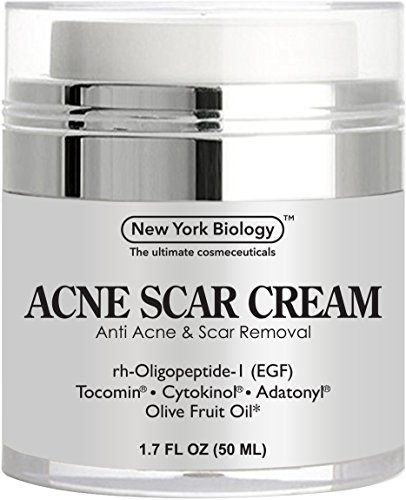 Crème de cicatrice d'acné depuis New York biologie - EGF Anti acné crème aide à se débarrasser des cicatrices d'acné tout en hydratant & régénérateur peau - 1,7 oz liq