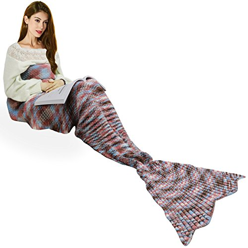 Handmade Mermaid Tail Blanket Crochet , Ibaby888 All Seasons Warm Knitted Bed Blanket Sofa Quilt Living Room Sleeping Bag for Kids and Adults (72.8