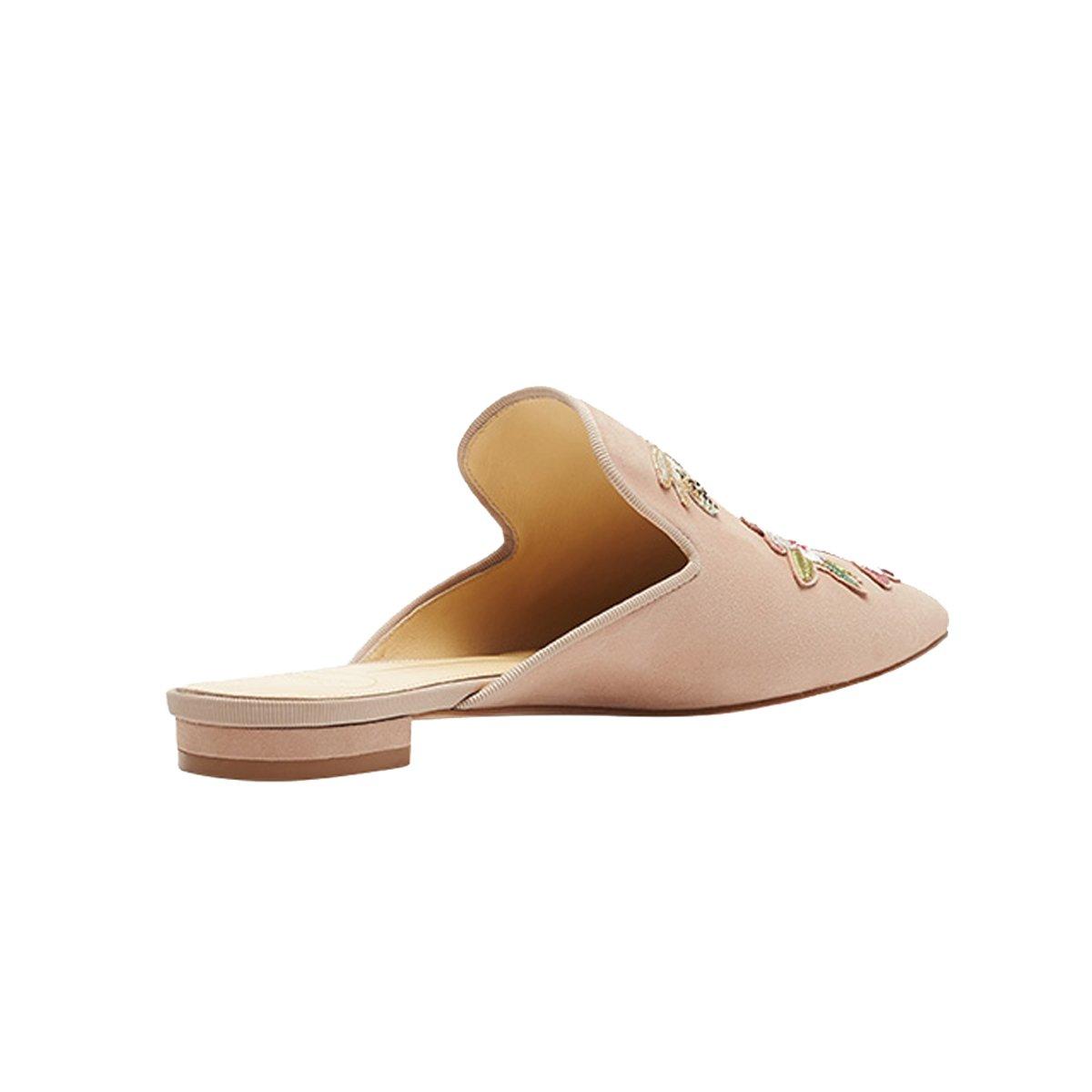31f01cd95da1d Lovirs de las mujeres de terciopelo sin respaldo resbalón en los holgazanes  pisos bordado mule zapatillas zapatos Flores desnudas