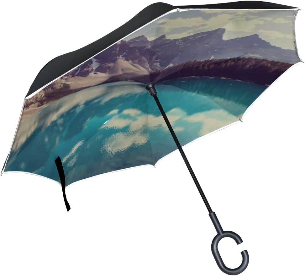 Double Layer Inverted Inverted Umbrella Is Light And Sturdy Beautiful Moraine Lake Banff National Park Reverse Umbrella And Windproof Umbrella Edge N