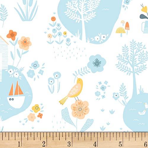(Dear Stella Designs Dear Stella Life Critter Pond White Fabric by The Yard)