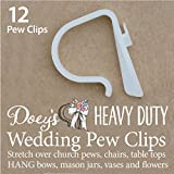Doeys Pew Clips 12 HEAVY DUTY Wedding Pew Hooks - Attach wedding aisle decorations to pews, chairs, table tops and railings 12 Pack