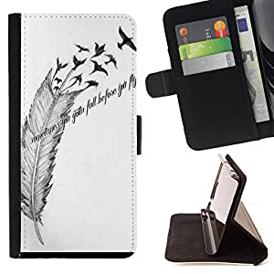 Jordan Colourful Shop -Sometime you gotta fall before you fly Feather -- Leather Case Absorciš®n cubierta de la caja de alto impacto FOR Apple iPhone 6 6S 4.7 ---