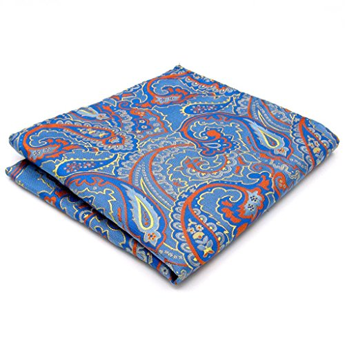 Shlax&Wing Paisley Blue Orange Pocket Square Mens Hankies - New Mens Pocket Square