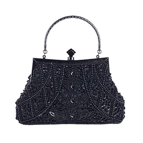 Evening Clutches Women Occasion Handbags Black Sensexiao Special Clutch Beading Bag Evening Bags Gray Purse Color WFtqxU