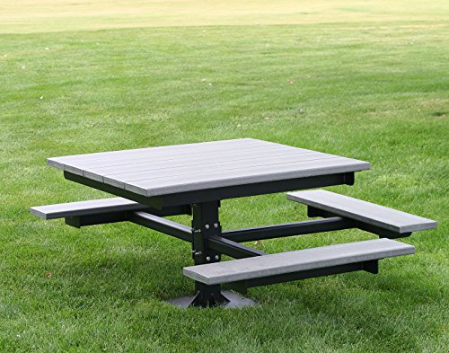 Frog Furnishings T-Table with Black In-Ground Frame, 4', Gray