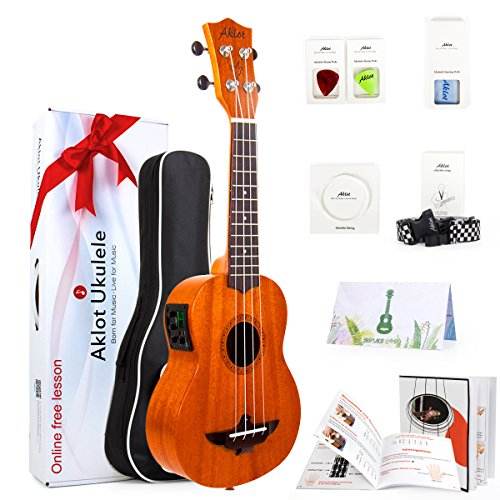 (AKLOT Electric Acoustic Soprano Ukulele Solid Mahogany Ukelele 21 inch Beginners Starter Kit with Free Online Courses and Ukulele Accessories (AKES21))