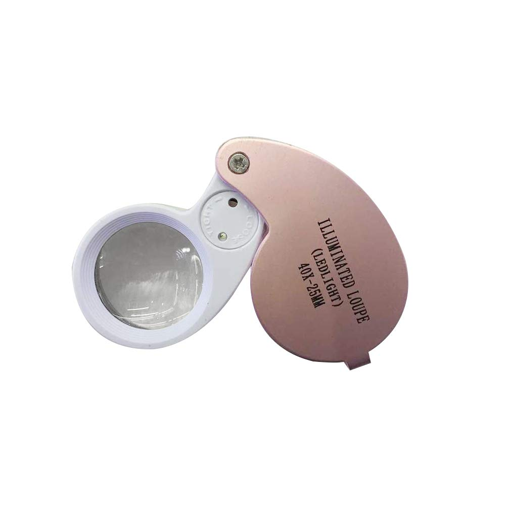 AkoMatial 40x Folding Handheld Glass Lens Magnifier Loupe with LED Light Eyes Magnifying Tools for Jewelry Pink