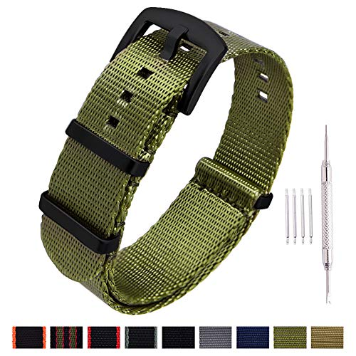 18mm Watch - Ritche NATO Watch Strap with Heavy Buckle 18mm 20mm 22mm Premium Seat Belt Nylon Watch Bands for Men Women