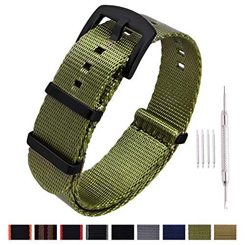 Black Belt Watch - Ritche NATO Watch Strap with Heavy Buckle 18mm 20mm 22mm Premium Seat Belt Nylon Watch Bands for Men Women (Army Green -Black Buckle, 20mm)