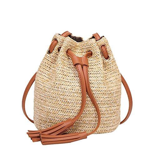 Womens Tassels Bag Brown Solid School Shoulder HCFKJ Bags Teen Weave Bags Cross Girls Drawstring Color Fashion Bucket Capacity Vintage q4qrBS6Ua
