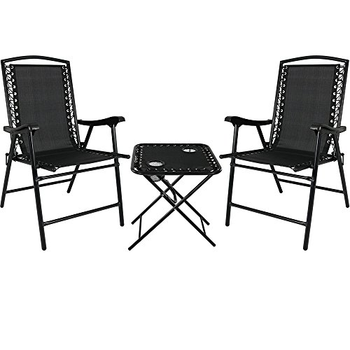 Sunnydaze Folding Suspension Outdoor Lounge Chair Set, 2 Lawn Chairs with Matching Side Table, Black