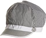 LL Womens Cabbie Hat Spring Summer Black and White Thin Stripes Rhinestone Flower
