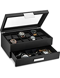 fe85dea58 Watch Box with Valet Drawer for Men - 12 Slot Luxury Watch Case Display  Organizer, Carbon Fiber Design - Metal Buckle for Mens Jewelry Watches, ...