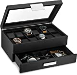 Glenor Co Watch Box with Valet Drawer for Men - 12 Slot Luxury Watch Case Display Organizer, Carbon Fiber Design - Metal Buckle for Mens Jewelry Watches, Men