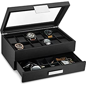 Glenor Co Watch Box with Valet Drawer for Men – 12 Slot Luxury Watch Case Display Organizer, Carbon Fiber Design – Metal Buckle for Mens Jewelry Watches, Men's Storage Boxes Holder has Large Glass Top