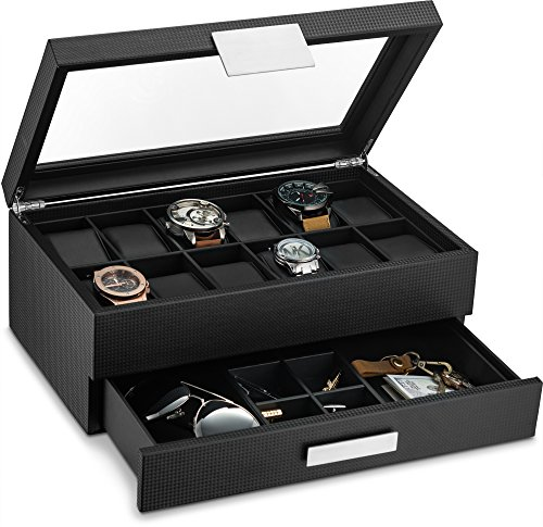 with Valet Drawer for Men - 12 Slot Luxury Watch Case Display Organizer, Carbon Fiber Design - Metal Buckle for Mens Jewelry Watches, Men's Storage Boxes Holder has Large Glass Top ()