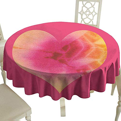 cashewii Waterproof Tablecloth Batik Valentin Heart on Pink Background Great for Buffet Table D63