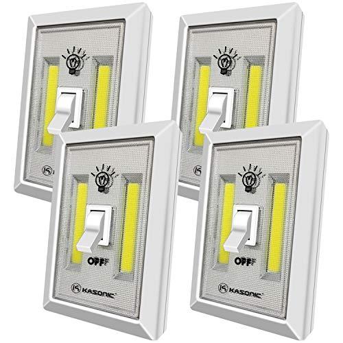 LED Night Light, Kasonic 200 Lumen Cordless COB LED Light Switch, Under Cabinet, Shelf, Closet, Garage, Kitchen, Stairwell and More, Battery Operated (4 Pack)