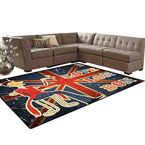 British Door Mats for Inside I Love London Quote with English Man on UK Flag Backdrop National Design Bath Mat 5'x6' Gold Dark Blue Red