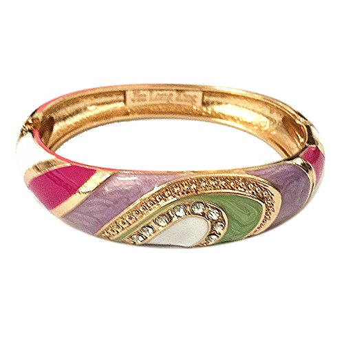 UJOY Vintage Cloisonne Bracelet Handcraft Colors Enamel Indian Style Gold Plated Open Hinge Bangle for Jewelry Gifts 88A26 Purple-Rosered