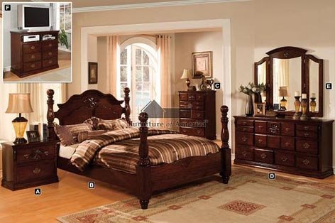 Cal. King Bed - Solid Pine Poster Bed