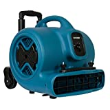 XPOWER P-630HC 1/2 HP 2800 CFM Air Mover Carpet Dryer Fan with Telescopic Handle, Wheels, Clamp
