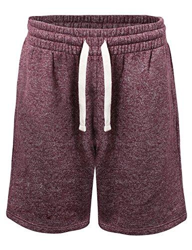 ProGo Men's Casual Basic Fleece Marled Shorts Pants with Elastic Waist (Burgundy, X-Large) ()