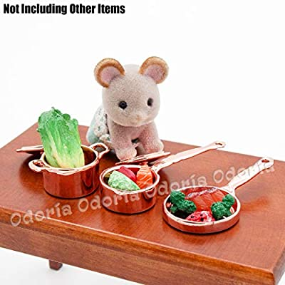 Odoria 1:12 Miniature Kitchenware Kit Frying Pan Boiler Set Dollhouse Kitchen Accessories: Toys & Games