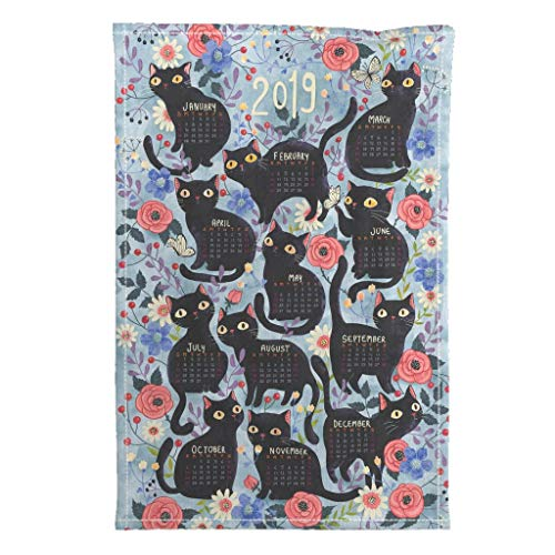 Roostery 2019 Tea Towel Calendar Cat Flowers Black Cat Kitchen by Gaiamarfurt Special Edition Linen Cotton Tea Towel