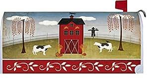 Fall Barn Mailbox Makover Cover - Vinyl witn Magnetic Strips for Steel Standard Rural Mailbox