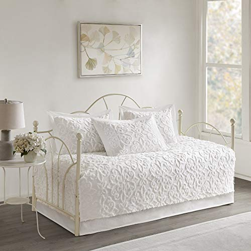 MISC Bright White Chenille Daybed Set Medallion Pattern Bedding Textured Soft Cotton Fabric Shabby Chic, 5 Piece