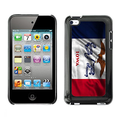FJCases Iowa The Hawkeye State Waving Flag Slim & Thin Hard Case Cover for Apple iPod Touch 4