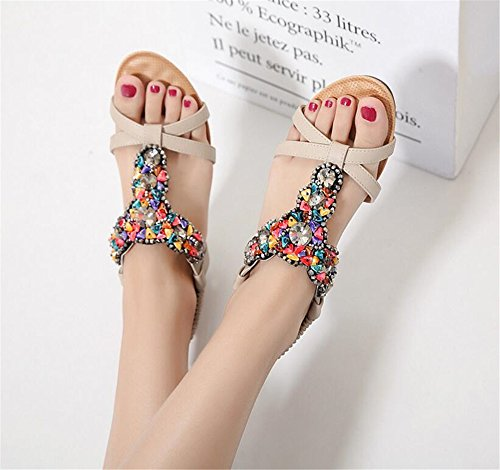 Shoe Plus Beige Flat Size Shoes Flops pit4tk Sandals Beach Women Slipper Flip Women Summer Ap6qPnzF