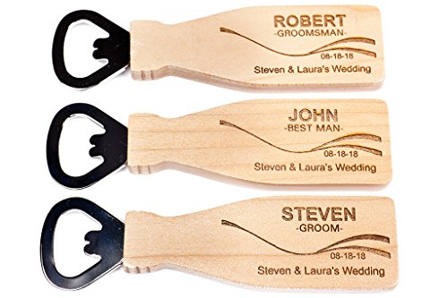 Customized Groomsmen Gift - Beer Bottle Opener, Personalized Wedding Gift, Magnetic Maple Wood Beer Bottle Opener, customized Wedding Gift, Best Man Gift, Save-the-Date, Wedding Reception Favor