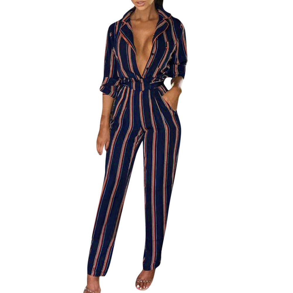 1626ef182fa Amazon.com  Vicbovo Clearance Women Deep V Neck Striped Print Long Sleeve  Long Pant Jumpsuit Casual Office Work Romper  Clothing