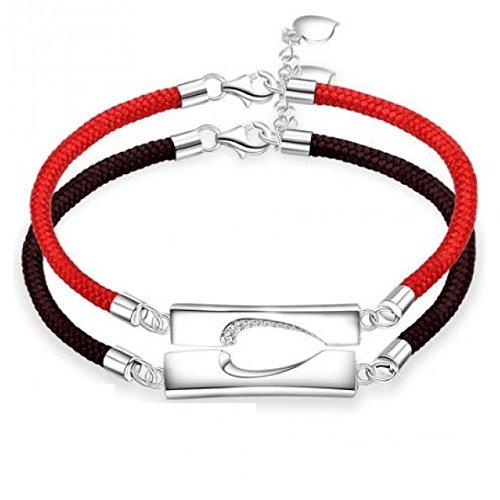 赤い糸黒い糸 ペアブレスレット刻印 人気 ペア ブレスレット シルバー メンズ ブレスレット 彼氏 彼女 誕生日 磁石 お揃い ギフトラッピング済み B019XVOMMS 黒/赤 B型 黒/赤 B型