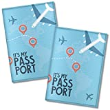 Cute Passport Cover for women and men, by Govinda Crafts, Eco Leather Passport Holder (Airplane, 2 pcs)