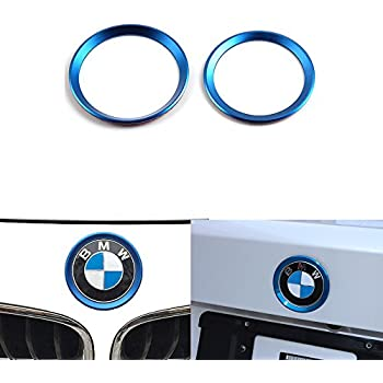 Blue 82mm// 3.2 Auto Exterior Decoration Xotic Tech 1 x Car Front Hood Rear Trunk Logo Emblem Surrounding Ring for BMW 1 3 5 6 7 Z X Series