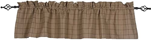 Home Collections by Raghu 72×15.5 Alexander Check Oat-Black Valance, 72 x15.5