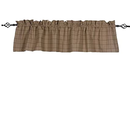 Home Collections by Raghu 72x15.5 Alexander Check Oat-Black Valance